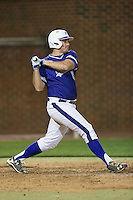 Zack Gray (32) of the High Point Panthers follows through on his swing against the NJIT Highlanders during game two of a double-header at Williard Stadium on February 18, 2017 in High Point, North Carolina.  The Highlanders defeated the Panthers 4-2.  (Brian Westerholt/Four Seam Images)
