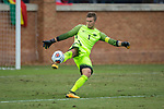 Virginia Tech Hokies goalie Ben Lundgaard (1) kicks the ball during first half action against the Wake Forest Demon Deacons at Spry Soccer Stadium on November 5, 2017 in Winston-Salem, North Carolina.  The Demon Deacons defeated the Hokies 3-0.  (Brian Westerholt/Sports On Film)