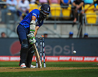 Moeen Ali is bowled by Tim Southee during the ICC Cricket World Cup one day pool match between the New Zealand Black Caps and England at Wellington Regional Stadium, Wellington, New Zealand on Friday, 20 February 2015. Photo: Dave Lintott / lintottphoto.co.nz