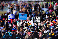 Washington, DC - January 27, 2017: People hold signs as tens of thousands gather to participate in the annual March for Life Rally on the National Mall in the District of Columbia, January 27, 2017.  (Photo by Don Baxter/Media Images International)