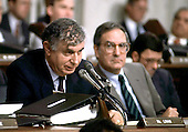 Washington, DC - (FILE)  - Attorney Arthur Liman questions Lieutenant Colonel Oliver North during the latter's testimony before the Iran-Contra Committee on Wednesday, July 8, 1987.  United States Senator George Mitchell (Democrat of Maine) looks on from the right..Credit: Arnie Sachs / CNP