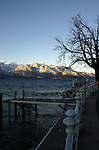 Promenade on the shore of the lake Léman, Vevay close to Montreux,Lausanne Switzerland.