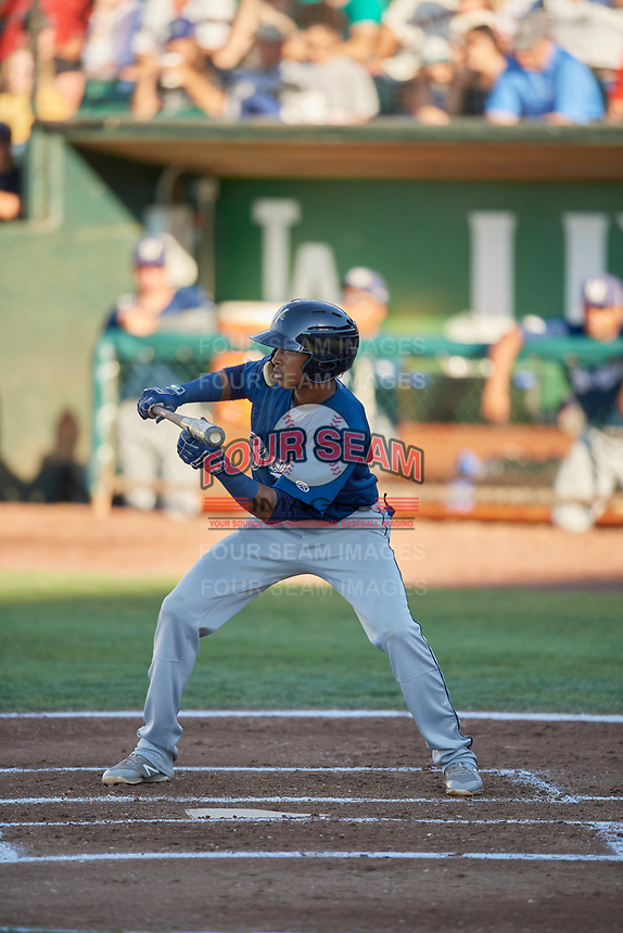 Yeison Coca (2) of the Helena Brewers squares to bunt against the Ogden Raptors at Lindquist Field on July 14, 2018 in Ogden, Utah. Ogden defeated Helena 8-6. (Stephen Smith/Four Seam Images)