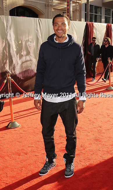 """HOLLYWOOD, CA - MAY 02: Jesse Williams attends the """"Thor"""" Los Angeles Premiere at the El Capitan Theatre on May 2, 2011 in Hollywood, California."""
