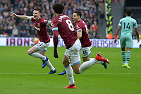 Declan Rice of West Ham United scores the first Goal and celebrates with Samir Nasri of West Ham United and ` during West Ham United vs Arsenal, Premier League Football at The London Stadium on 12th January 2019
