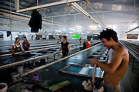 June 24, 2008 - Phnom Penh, Cambodia. Garment factory workers. © Nicolas Axelrod / Ruom