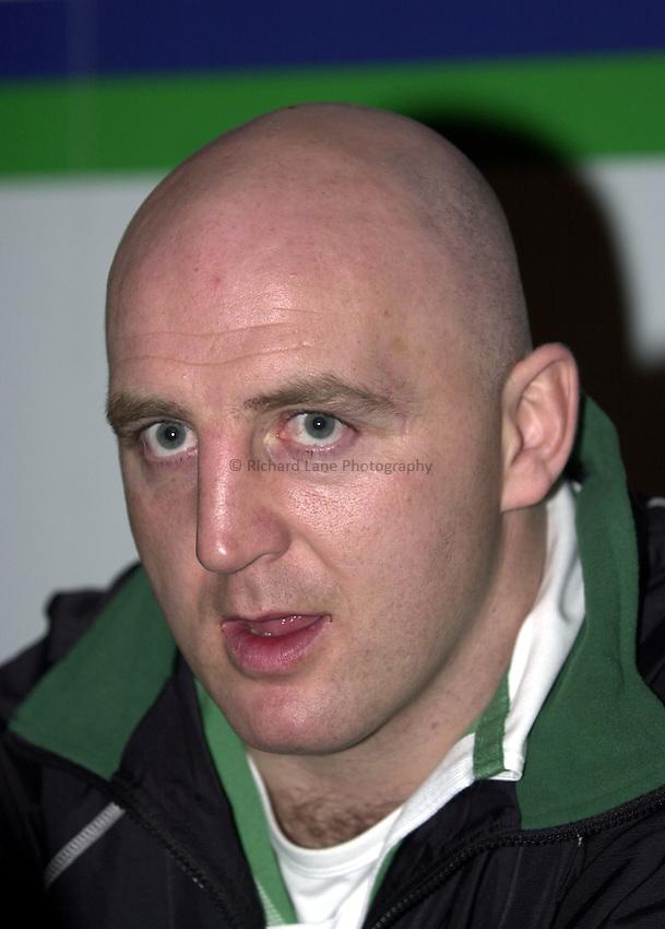 Photo. Richard Lane. .RBS Six Nations Launch, 2003. Hyde Park London. 05/02/2003.Ireland captain, Keith Wood.