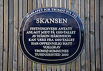 Skansen building plaque with dates, Tromso, Norway