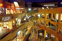 shopping mall, San Diego, California, CA, Westfield Shoppingtown Horton Plaza an open-air, multi-level complex in downtown San Diego in the evening.