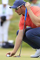 Sam Horsfield (ENG) on the 1st green during Saturday's Round 3 of the 2018 Dubai Duty Free Irish Open, held at Ballyliffin Golf Club, Ireland. 7th July 2018.<br /> Picture: Eoin Clarke | Golffile<br /> <br /> <br /> All photos usage must carry mandatory copyright credit (&copy; Golffile | Eoin Clarke)