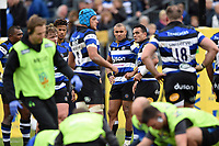 Bath Rugby players look on after team-mate Ben Tapuai suffers an injury. Aviva Premiership match, between Bath Rugby and Worcester Warriors on October 7, 2017 at the Recreation Ground in Bath, England. Photo by: Patrick Khachfe / Onside Images