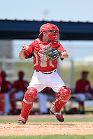 GCL Nationals catcher Kyle Bacak (36) throws down to second in between innings during a game against the GCL Marlins on June 28, 2014 at the Carl Barger Training Complex in Viera, Florida.  GCL Nationals defeated the GCL Marlins 5-0.  (Mike Janes/Four Seam Images)