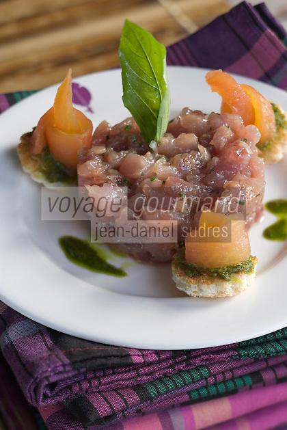 France/DOM/Martinique/Le François: Thon en tartare recette d'Hervé Rameau chef de l'Hôtel Cap Est Lagoon Resort & Spa
