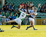 13/09/2014<br /> Roddy Burke of Ballybrown dives to block down a shot from Alan Dempsey of Na Piarsaigh in the Round 5 of the Limerick Senior Hurling Championship match which took place at the Gaelic Grounds, Limerick.<br /> Pic: Don Moloney/Press 22