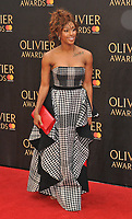 Alexandra Burke at the Olivier Awards 2018, Royal Albert Hall, Kensington Gore, London, England, UK, on Sunday 08 April 2018.<br /> CAP/CAN<br /> &copy;CAN/Capital Pictures<br /> CAP/CAN<br /> &copy;CAN/Capital Pictures