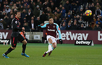 West Ham United's Javier Hernandez hits the bar late in the game<br /> <br /> Photographer Rob Newell/CameraSport<br /> <br /> The Premier League - West Ham United v Arsenal - Wednesday 13th December 2017 - London Stadium - London<br /> <br /> World Copyright &copy; 2017 CameraSport. All rights reserved. 43 Linden Ave. Countesthorpe. Leicester. England. LE8 5PG - Tel: +44 (0) 116 277 4147 - admin@camerasport.com - www.camerasport.com
