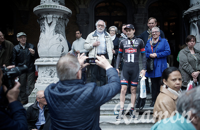Tom Dumoulin (NLD/Giant-Alpecin) accommodating some fans for a picture<br /> <br /> Team Presentation; 1 day ahead of the 101th Liège-Bastogne-Liège 2015