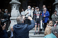 Tom Dumoulin (NLD/Giant-Alpecin) accommodating some fans for a picture<br /> <br /> Team Presentation; 1 day ahead of the 101th Li&egrave;ge-Bastogne-Li&egrave;ge 2015