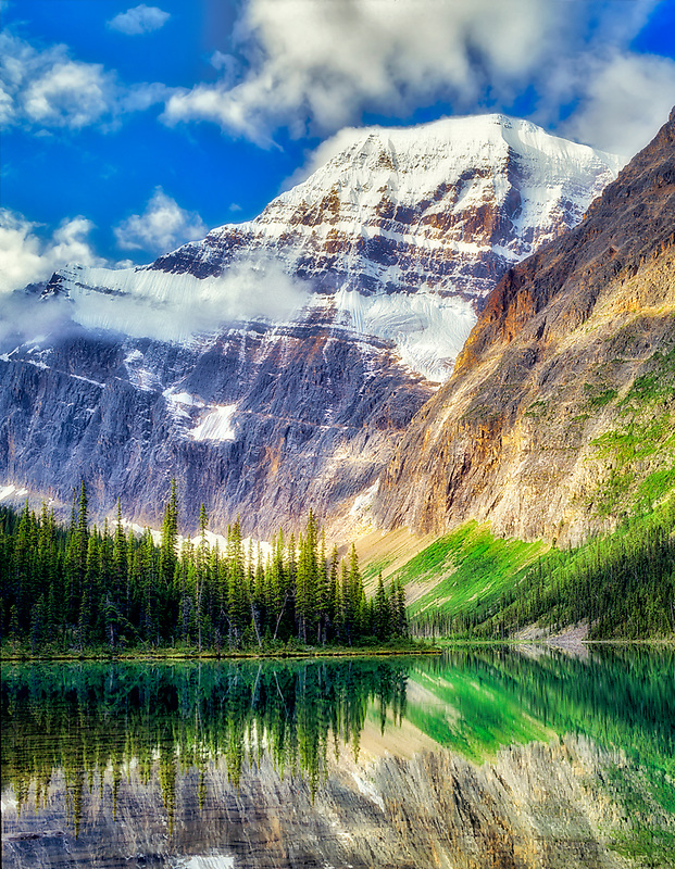 Cavell Lake and Mount Edith Cavell. Jasper National Park, Canada.