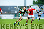 In Action Brendan's Captain David Griffin and  E. Kerry's Fintan Coffey at the Garvey's Supervalu Senior County Football Championship - Round 3 St. Brendan's V East Kerry at Austin Stack Park on Saturday