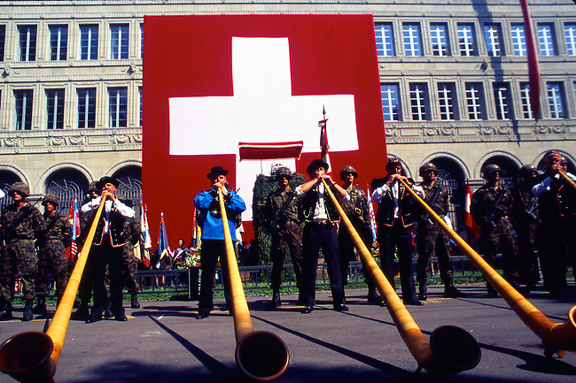 Alphorn Musicians, Independence Day, Zurich, Switzerland