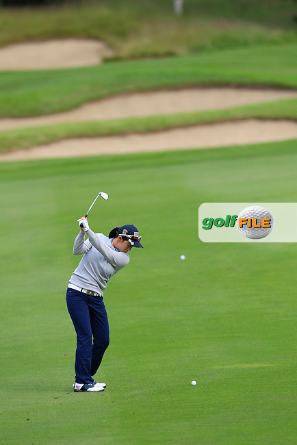 Mika Liu on the 2nd during the Friday morning foursomes at the 2016 Curtis cup from Dun Laoghaire Golf Club, Ballyman Rd, Enniskerry, Co. Wicklow, Ireland. 10/06/2016.<br /> Picture Fran Caffrey / Golffile.ie<br /> <br /> All photo usage must carry mandatory copyright credit (&copy; Golffile | Fran Caffrey)