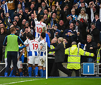 Brighton & Hove Albion's Florin Andone celebrates scoring the opening goal with the fans and team<br /> <br /> Photographer David Horton/CameraSport<br /> <br /> The Premier League - Brighton and Hove Albion v Huddersfield Town - Saturday 2nd March 2019 - The Amex Stadium - Brighton<br /> <br /> World Copyright © 2019 CameraSport. All rights reserved. 43 Linden Ave. Countesthorpe. Leicester. England. LE8 5PG - Tel: +44 (0) 116 277 4147 - admin@camerasport.com - www.camerasport.com