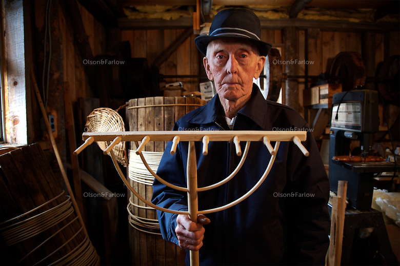 Earl Allen, 81, makes the Allen 8-Tooth Hay Rake in the Adirondacks.  It takes six steps to make one tooth.  His uncle fashioned machinery to make each piece--and Earl is hoping his nephew will pick up the craft.  He remembers driving into town in a Model A filled with the rakes that sold for 50 cents.  He makes far fewer today and they now sell for $25.