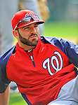 6 March 2012: Washington Nationals infielder Danny Espinosa stretches out prior to a Spring Training game against the Atlanta Braves at Champion Park in Disney's Wide World of Sports Complex, Orlando, Florida. The Nationals defeated the Braves 5-2 in Grapefruit League action. Mandatory Credit: Ed Wolfstein Photo