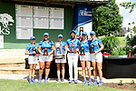 HOUSTON, TX - MAY 19: Nova Southeastern stand with the fourth place team trophy during the Division II Women's Golf Championship held at Bay Oaks Country Club on May 19, 2018 in Houston, Texas. (Photo by Justin Tafoya/NCAA Photos via Getty Images)
