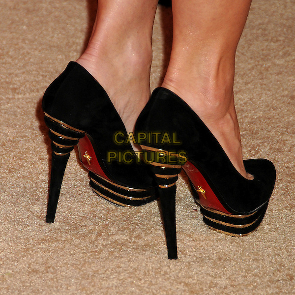 JULIE BENZ'S SHOES.US Weekly's Hot Hollywood Party 2009 held at Voyeur, West Hollywood, California, USA..November 18th, 2009.feet heels black gold.CAP/ADM/BP.©Byron Purvis/AdMedia/Capital Pictures.