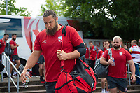 Josh Hohneck and the rest of the Gloucester Rugby team arrive at Allianz Park. Gallagher Premiership Semi Final, between Saracens and Gloucester Rugby on May 25, 2019 at Allianz Park in London, England. Photo by: Patrick Khachfe / JMP