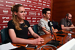 Last year's winners Tiesj Benoot (BEL) Lotto-Soudal and World Champion Anna Van der Breggen (NED) Boels Dolmans press conference ahead of the 2019 Strade Bianche running 184km from Siena to Siena, held over the white gravel roads of Tuscany, Italy. 8th March 2019.<br /> Picture: LaPresse/Gian Mattia D'Alberto | Cyclefile<br /> <br /> <br /> All photos usage must carry mandatory copyright credit (© Cyclefile | LaPresse/Gian Mattia D'Alberto)