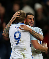 Harry Kane of England celebrates scoring his side's first goal with Kyle Walker<br /> <br /> Photographer Rob Newell/CameraSport<br /> <br /> FIFA World Cup Qualifying - European Region - Group F - England v Slovenia - Thursday 5th October 2017 - Wembley Stadium - London<br /> <br /> World Copyright &copy; 2017 CameraSport. All rights reserved. 43 Linden Ave. Countesthorpe. Leicester. England. LE8 5PG - Tel: +44 (0) 116 277 4147 - admin@camerasport.com - www.camerasport.com