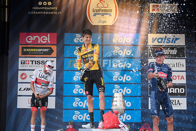 George Bennett (NZL) Team Jumbo-Visma wins with Diego Ulissi (ITA) UAE Team Emirates 2nd and Mathieu Van der Poel (NED) Alpecin-Fenix 3rd at the end of the 104th edition of GranPiemonte 2020, running 187km from Santo Stefano Belbo to Barolo, Italy. 12th August 2020.<br /> Picture: LaPresse/Fabio Ferrari | Cyclefile<br /> <br /> All photos usage must carry mandatory copyright credit (© Cyclefile | LaPresse/Fabio Ferrari)