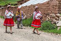 Peru, Misminay Village, Urubamba Valley.  Quechua Women and Male Drummer Welcoming Visitors to their Village.