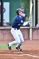 Elizabethton Twins left fielder Shane Carrier (8) swings at a pitch during game against the Burlington Royals at Joe O'Brien Field on August 24, 2016 in Elizabethton, Tennessee. The Royals defeated the Twins 8-3. (Tony Farlow/Four Seam Images)