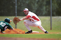 Illinois State Redbirds first baseman Brian Rodemoyer (30) stretches for a throw as Brandon Hughes (33) dives back to the bag during a game against the Michigan State Spartans on March 8, 2016 at North Charlotte Regional Park in Port Charlotte, Florida.  Michigan State defeated Illinois State 15-0.  (Mike Janes/Four Seam Images)