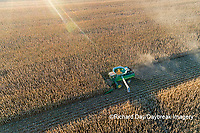 63801-12806 Harvesting corn in fall-aerial  Marion Co. IL