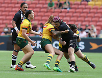 New Zealand's Laura Mariu attacks during the women's Rugby League World Cup final between Australia and New Zealand, Suncorp Stadium, Brisbane, Australia, 2 December 2017. Copyright Image: Tertius Pickard / www.photosport.nz MANDATORY CREDIT/BYLINE : Tertius Pickard/SWpix.com/PhotosportNZ