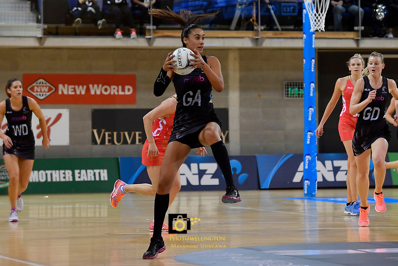Silver Ferns' Maria Tutaia in action during the International Netball - NZ Silver Ferns v England Roses at Te Rauparaha Arena, Porirua, New Zealand on Thursday 7 September 2017.<br /> Photo by Masanori Udagawa. <br /> www.photowellington.photoshelter.com