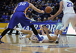 January 2, 2016 - Colorado Springs, Colorado, U.S. -  Air Force and San Jose State players battle for a loose ball during an NCAA basketball game between the San Jose State Spartans and the Air Force Academy Falcons at Clune Arena, U.S. Air Force Academy, Colorado Springs, Colorado.  Air Force defeats San Jose State 64-57.