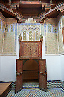 Arabesque Moorish plasterwork of the Dar Jamai Museum  a typical dwellings of high Moroccan bourgeoisie at the end of XIX century. located in the old Medina built by Mohamed Ben Larbi Jamai grend vizier of Sultan Moulay Hassan (1873-1894). Meknes, Morocco