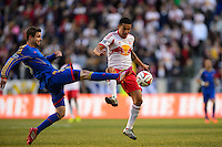 Tim Cahill (17) of the New York Red Bulls and Drew Moor (3) of the Colorado Rapids. The New York Red Bulls and the Colorado Rapids played to a 1-1 tie during a Major League Soccer (MLS) match at Red Bull Arena in Harrison, NJ, on March 15, 2014.
