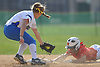 Kaitlin Maniscalco #7, Kellenberg shortstop, left, tries to tag Janae Barracato #8 of Sacred Heart Academy, who slides safely into second base for a steal during a CHSAA varsity softball game against Kellenberg at Greis Park in Lynbrook on Tuesday, April 11, 2017. Sacred Heart won by run rule 9-0 after four and a half innings of play.