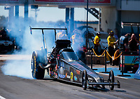 Oct 18, 2019; Ennis, TX, USA; NHRA top alcohol dragster driver Joey Severance during qualifying for the Fall Nationals at the Texas Motorplex. Mandatory Credit: Mark J. Rebilas-USA TODAY Sports