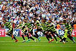 Huddersfield Town players react after winning the penalty shootout during the SkyBet Championship Play Off Final match at the Wembley Stadium, England. Picture date: May 29th, 2017.Picture credit should read: Matt McNulty/Sportimage