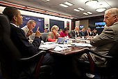 Washington, DC - October 9, 2009 -- United States President Barack Obama attends a briefing on Afghanistan in the Situation Room of the White House,  October 9, 2009. .Mandatory Credit: Pete Souza - White House via CNP