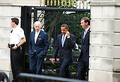 "Washington, DC - July 31, 2009 -- United States Vice President Joseph Biden and U.S. President Barack Obama walk to the Blair House from the White House prior to a meeting with cabinet members July 31, 2009 in Washington, DC. Obama held a cabinet retreat with cabinet members to ""talk about the agendas both past and forward,"" according to White House Press Secretary Robert Gibbs. .Credit: Alex Wong - Pool via CNP"