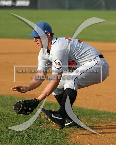 August 16, 2003:  Chad Boudon of the Aberdeen Ironbirds, Class-A affiliate of the Baltimore Orioles, during a game at Falcon Park in Auburn, NY.  Photo by:  Mike Janes/Four Seam Images